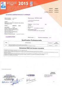 Certificat RGE Qualibat 2015 - 2